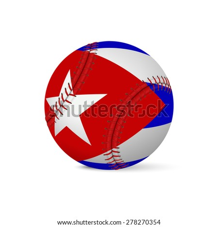 Baseball with flag of Cuba, isolated on white background. Vector EPS10 illustration.  - stock vector