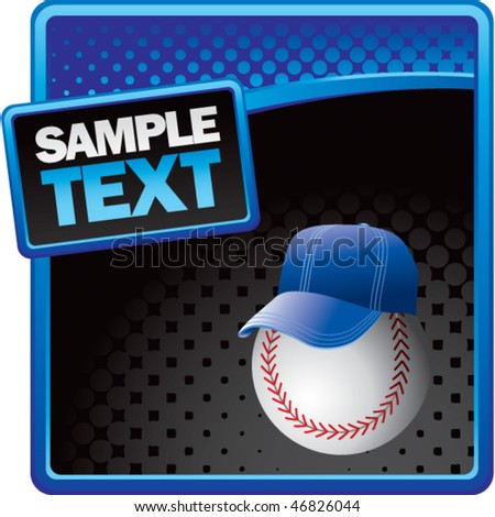 baseball with hat blue and black halftone template - stock vector