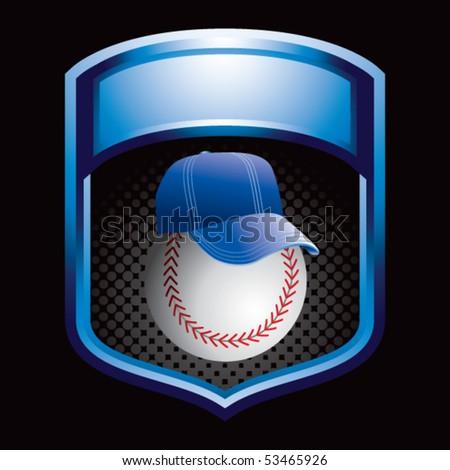 baseball with hat blue shiny display - stock vector