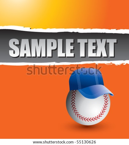 baseball with hat orange ripped banner - stock vector
