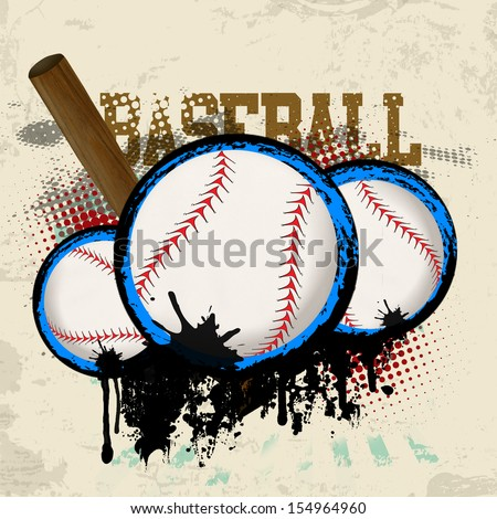 Baseballs And Baseball Bat On Vintage Grunge Background Vector Illustration