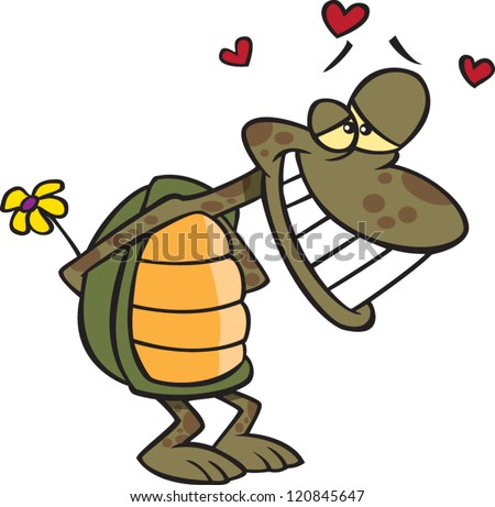 bashful cartoon turtle in love and holding a flower