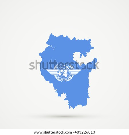 Bashkortostan map in ICAO (International Civil Aviation Organization) flag colors, editable vector.
