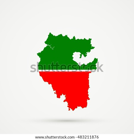 bashkortostan map tatarstan flag colors editable stock vector