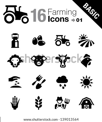 Basic - Agriculture and Farming icons  - stock vector
