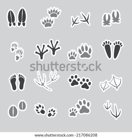 basic animal footprints stickers, set eps10 - stock vector
