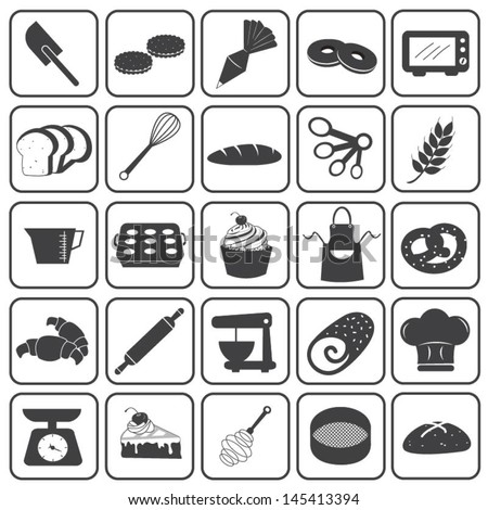 Basic Bakery Icons Vector Set - stock vector