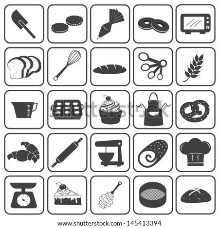 Basic Bakery Icons Vector Set - stock vector