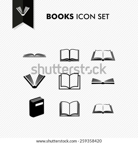 Basic books icon set isolated over white. Vector file organized in layers for easy editing. - stock vector