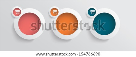 Basic business online shopping vector icons with three different shopping carts in modern colors