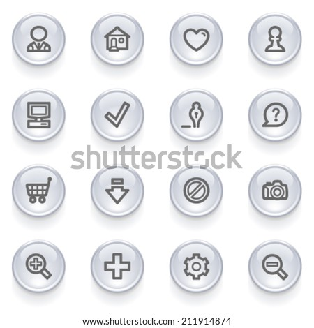 Basic contour icons on glossy buttons. - stock vector