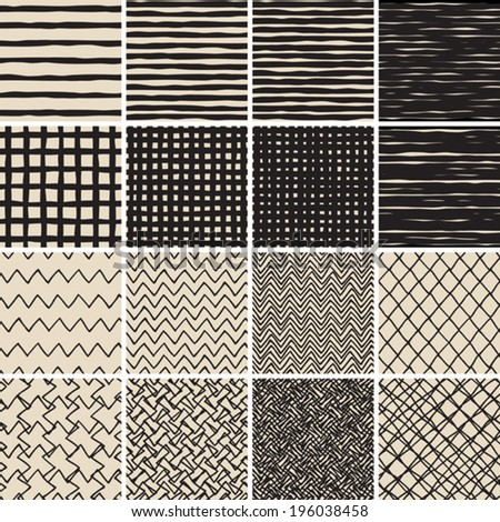 Basic Doodle Seamless Pattern Set No.2 in black and white is collection of 16 simple repetitive patterns. Illustration is in eps8 vector mode, background on separate layer.  - stock vector