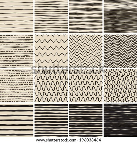 Basic Doodle Seamless Pattern Set No.6 in black and white is collection of 16 simple repetitive patterns. Illustration is in eps8 vector mode, background on separate layer.  - stock vector