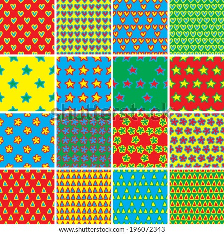 Basic Doodle Seamless Pattern Set No.4 in colors is collection of 16 simple repetitive patterns. Illustration is in eps8 vector mode, background on separate layer.