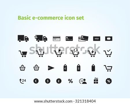 Basic e-commerce icon set! The best icons for your e-shop. - stock vector