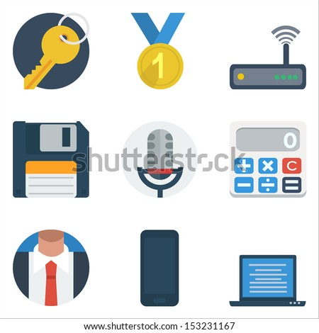 Basic Flat icon set for business Application