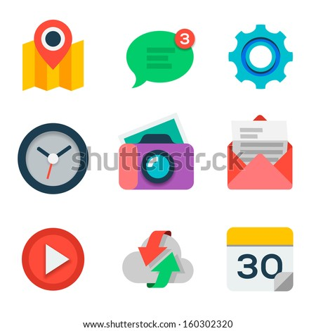Basic Flat icon set for web and mobile application, vector illustration.  - stock vector