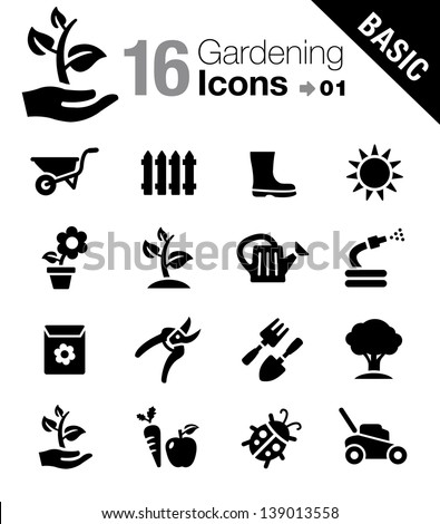Basic - Gardening icons  - stock vector