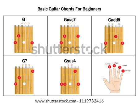 Basic Guitar Chords Beginners Guitar Chords Stock Vector (2018 ...
