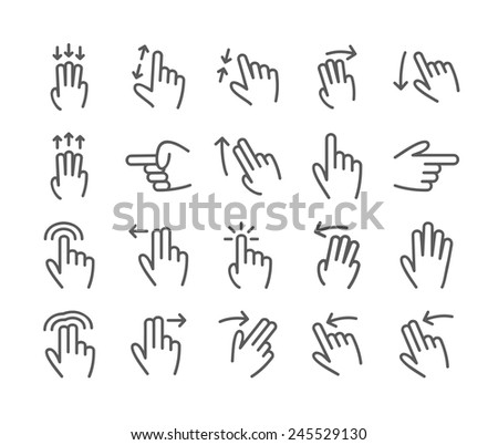 Basic human gestures using modern digital devices - stock vector