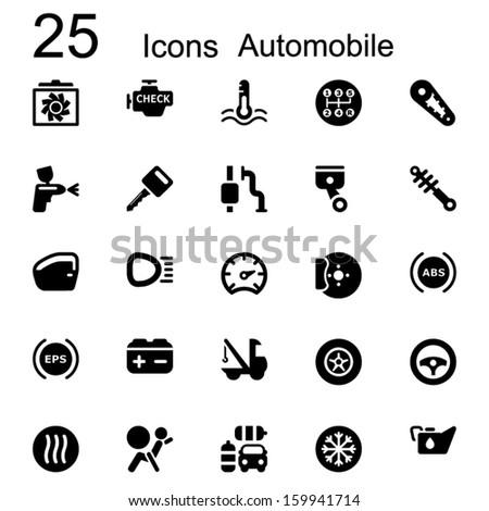 Basic icon set in black automotive - stock vector