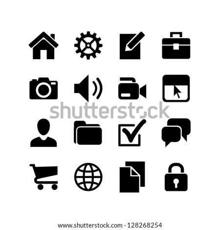 Basic Icons. Web icon set. - stock vector