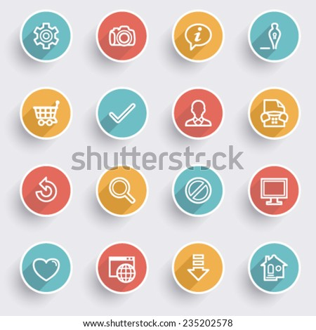 Basic icons with color buttons on gray background. - stock vector