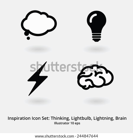 Basic Inspiration Icon Set: Thinking, Speechbubble, Lightbulb, Lightning, Brain.  - stock vector
