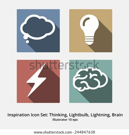 Basic Inspiration Icon Set: Thinking, Speechbubble, Lightbulb, Lightning, Brain. Colorful Modern flat design with long shadows - stock vector