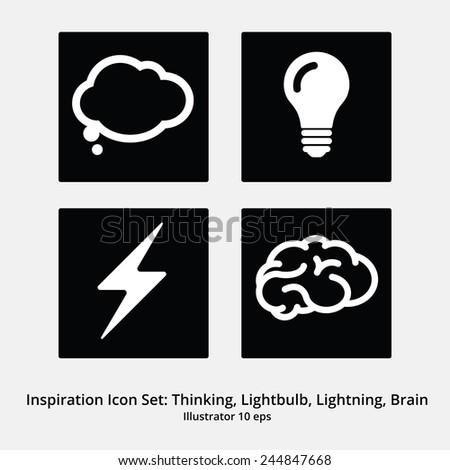 Basic Inspiration Icon Set: Thinking, Speechbubble, Lightbulb, Lightning, Brain. Negative - stock vector