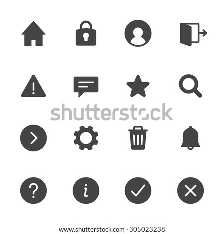 Basic interface icons set 1. Simple flat vector web icons set on white background - stock vector