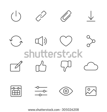 Basic interface line icons for web and mobile app - stock vector