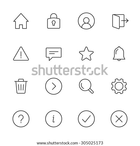 Basic interface line icons for web and mobile app. Set 1
