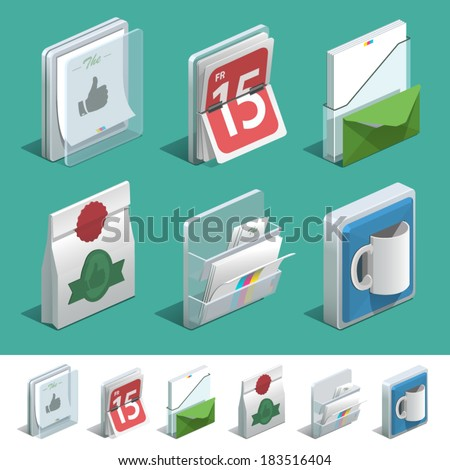 Basic isometric icon set for Print shop. - stock vector