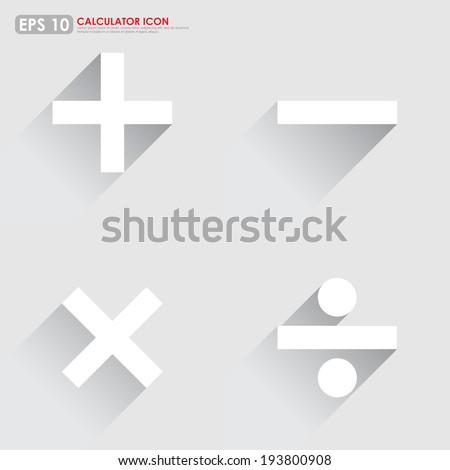 Basic mathematical symbols - plus, minus, multiplication & division - on gray background - stock vector