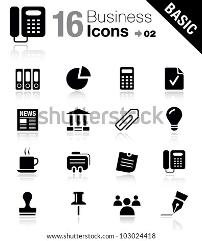 Basic - Office and Business icons - stock vector