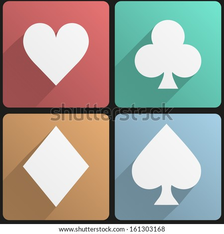 Basic playing cards suit simple Flat icon set for Web and Mobile Application. Illustration of gambling. Vector, editable and isolated. - stock vector