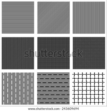 Basic seamless black and white line patterns for designs, always edit colors to reduce contrast - stock vector