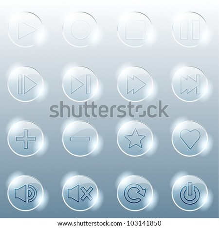 Basic set of transparent glass buttons (eps10); jpg version also available - stock vector