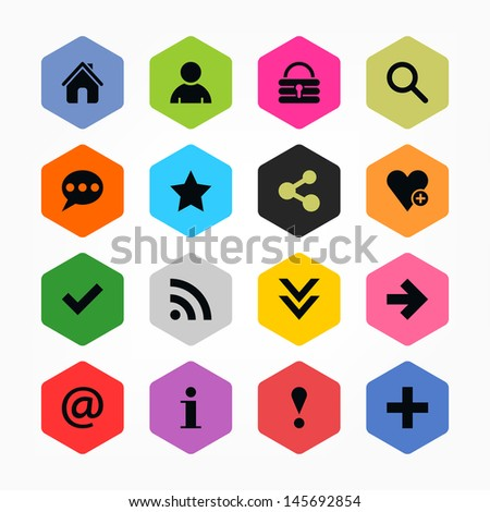 Basic sign icon set 05. Black on color. Simple rounded hexagon internet button. Solid plain color flat tile. New minimal contemporary mono metro style. Vector illustration web design elements 8 eps - stock vector