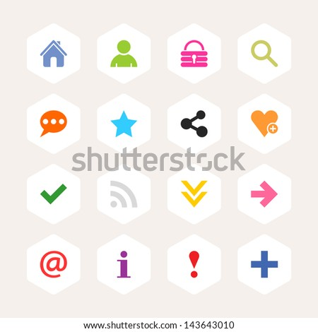 Basic sign icon set. Simple rounded hexagon internet button beige background. Solid plain monochrome color flat tile. Minimal modern metro style. Vector illustration web design elements saved 8 eps - stock vector