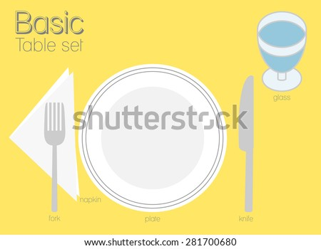 BASIC TABLE SETTING Common type of table setting for western dining, there is only one dinner plate, knife and fork. Itâ??s look very usual and simple. - stock vector