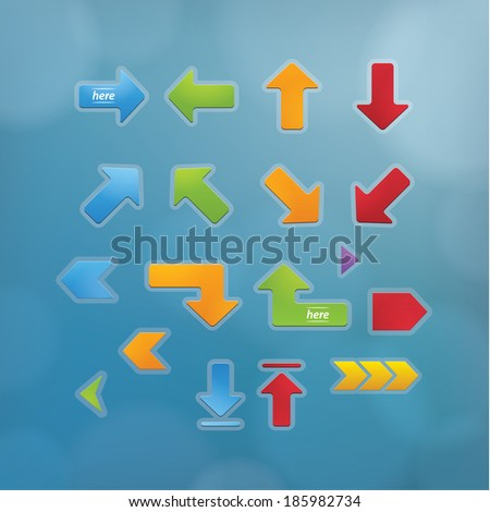 Basic vector arrows. Beveled vector buttons in modern design. Simple basic arrows in popular colors. Editable, sizable buttons for your website or presentation.