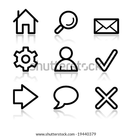 Basic web black contour icons V2 - stock vector