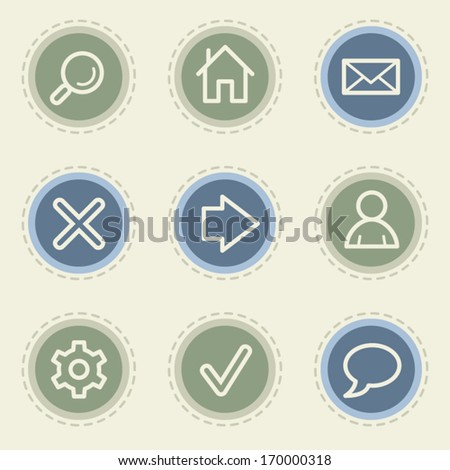 Basic web icon set, vintage buttons - stock vector