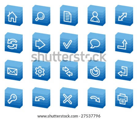 Basic web icons, blue box series - stock vector