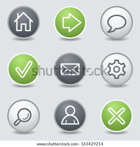 Basic web icons, circle buttons - stock vector