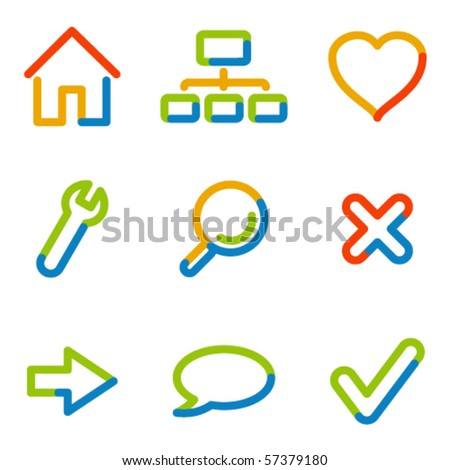 Basic web icons, colour contour series - stock vector