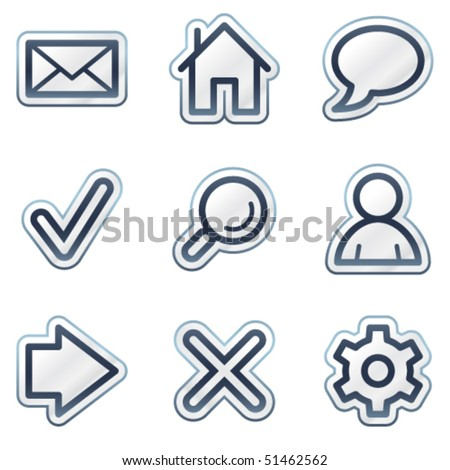 Basic web icons, deep blue contour sticker series - stock vector