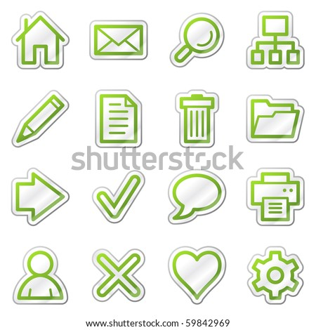 Basic web icons, green contour sticker series - stock vector